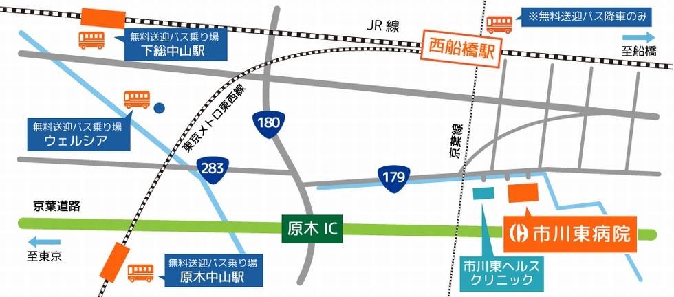 市川東病院の周辺地図